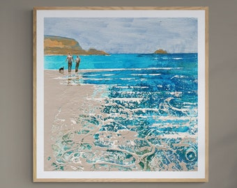 CORNWALL Art Beach Walk, Couple Gift, Coastal Decor, Custom Sizes, Gift Idea, Print Of Painting The colours of sand and sea Rock In Cornwall