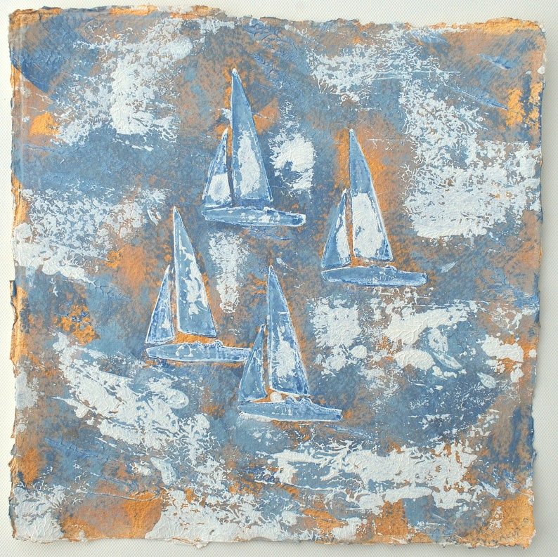 Buy Original Painting Boats Summer Painting Small Painting image 0