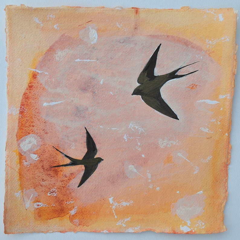 Original Painting Swallows Painting Swallow Art Spring image 0