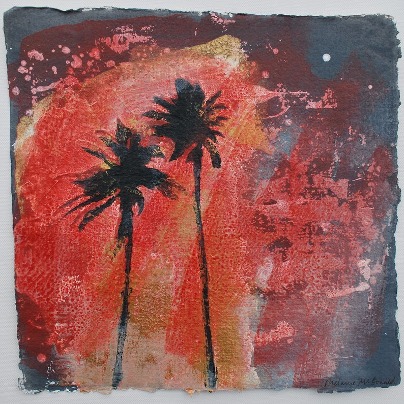 Beach House Art Original Painting Palms Palm Tree Abstract image 0