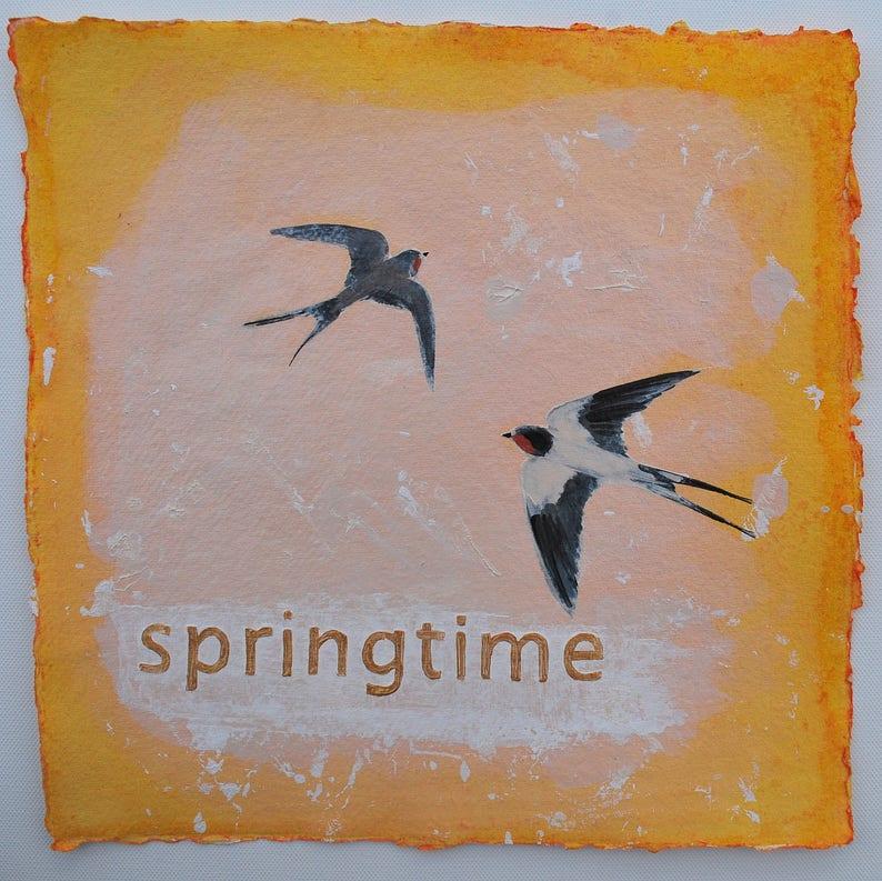 ORIGINAL ART  SWALLOWS painting of swallows  image 0
