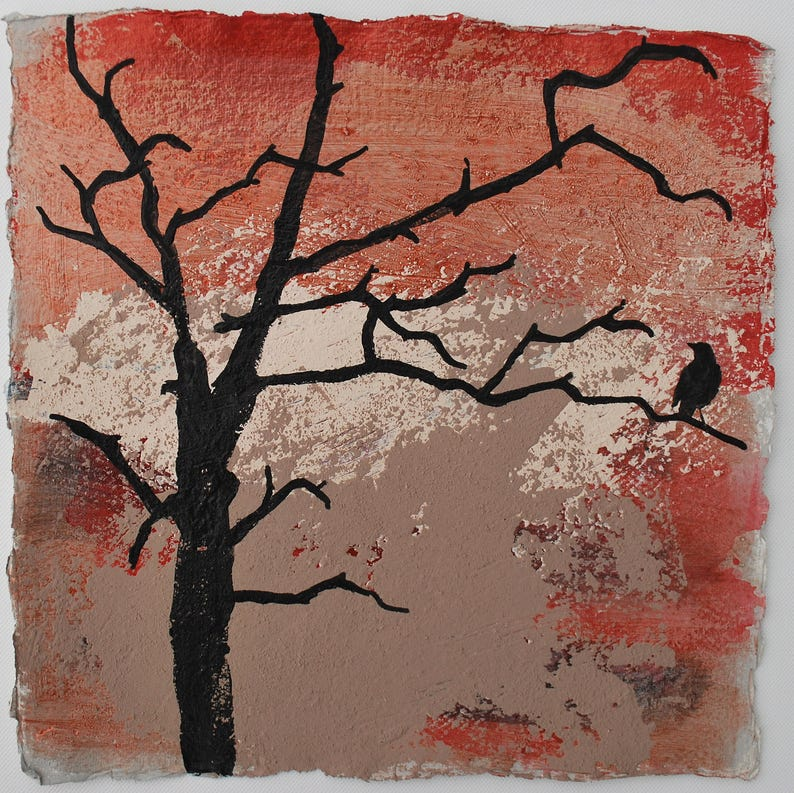 ORIGINAL PAINTING  bird  winter tree  original small image 0