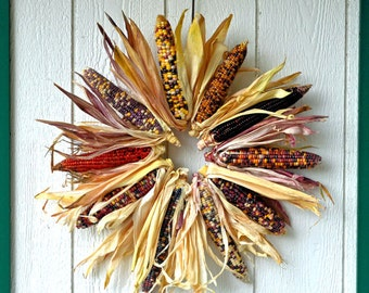 Large Indian Corn Wreath, Natural Indian corn fall wreath, Multicolored corn wreath, Autumn Wreath, Fall Wreath for Front door