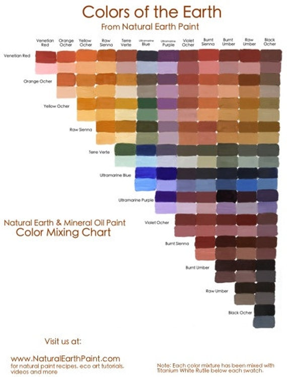 Natural Earth Paint Color Mixing Chart Etsy