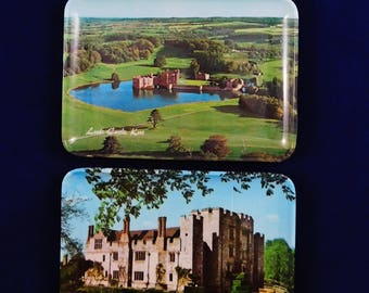 Melamine 3 Small Trays, Hever Castle, Penshurst Place and Leeds Castle, England, Made in Italy, Region of Kent, Souvenirs, Tip Trays