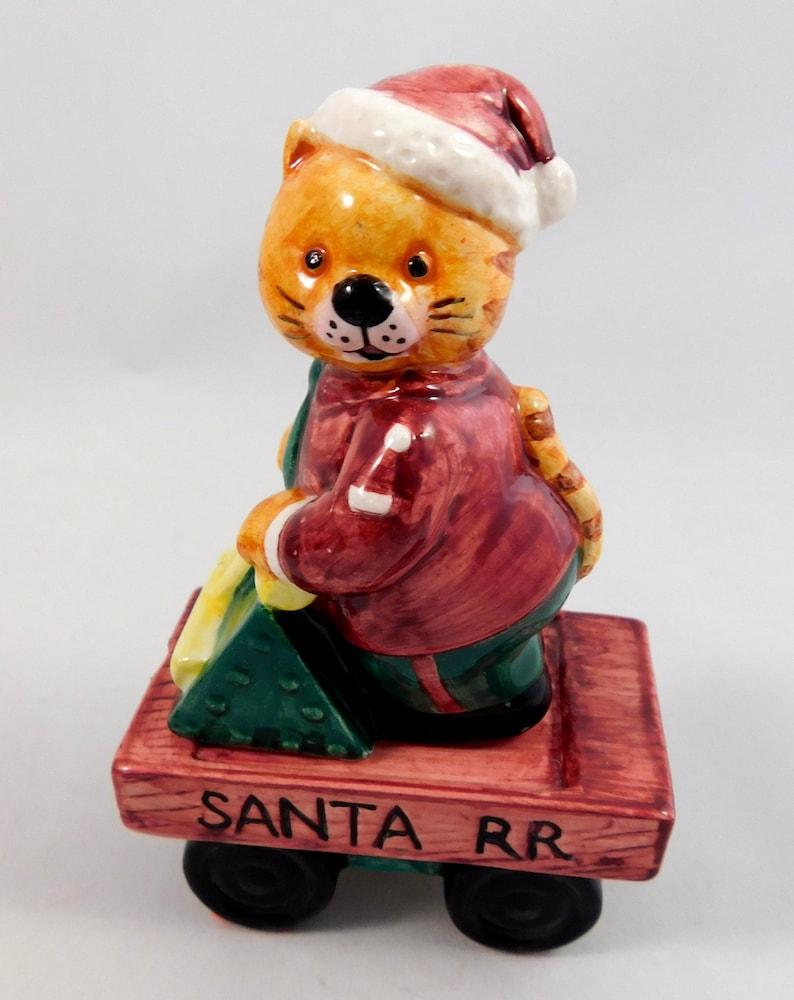 5 pc Omnibus Fitz /& Floyd 1995 Free Shipping Santa/'s Railroad Teapot Set