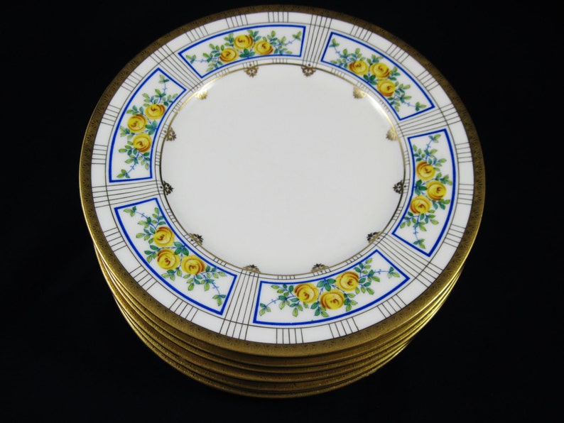 12 Aesthetic Movement  Minton 8 78 Plates Free Shipping 22Kt 1891-1902 for Bailey Banks /& Biddle