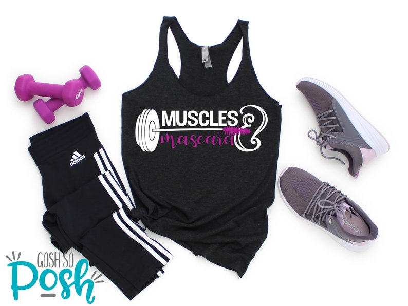 Workout Tank Top  Muscles And Mascara  Gifts For Her  image 0