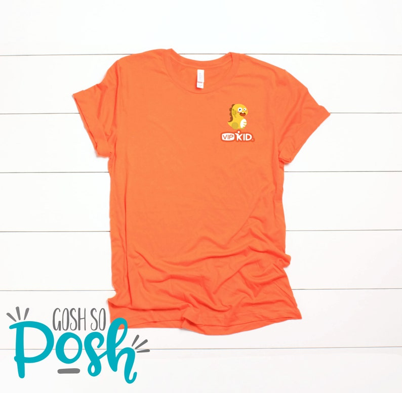 VIPKID T-Shirt  Pocket Logo  Dino  Dinosaur tee  Teacher Orange