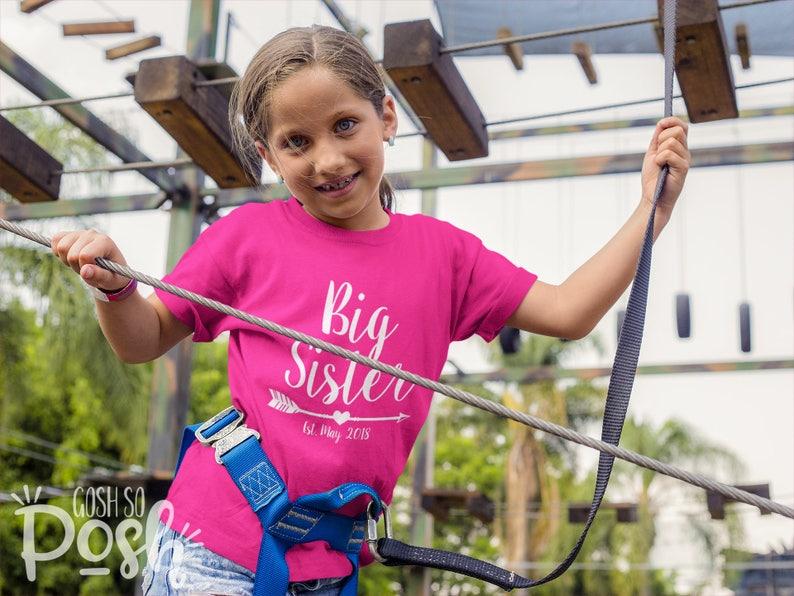 Girls Big Sister Shirt Birth Announcement Shirts Custom Family image 0