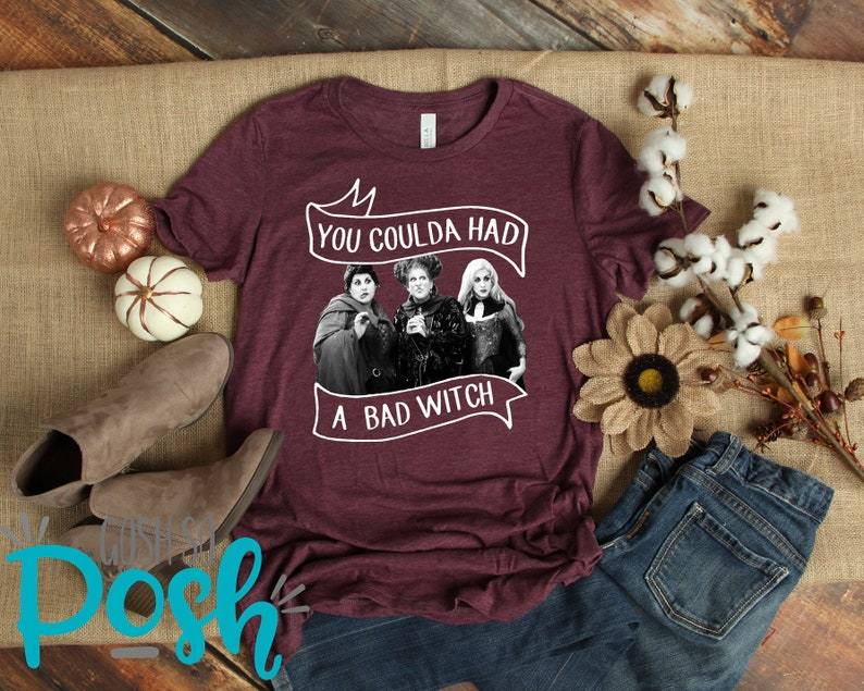 You Coulda Had A Bad Witch  Halloween T-Shirt  Bella Canvas Heather Maroon