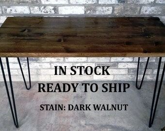 """Desk, 49""""x20""""x30"""" reclaimed wood, hairpin legs, in stock, ready to ship"""