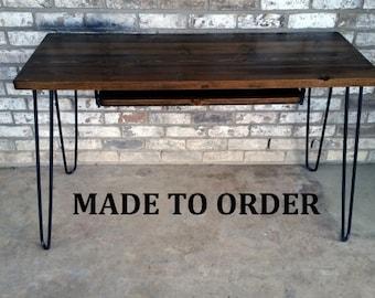 Desk, keyboard tray, reclaimed wood, hairpin legs, Made to order, rustic desk, desk hairpin legs, minimalist