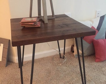End table, side table, hairpin legs, reclaimed wood, made to order, minimalist