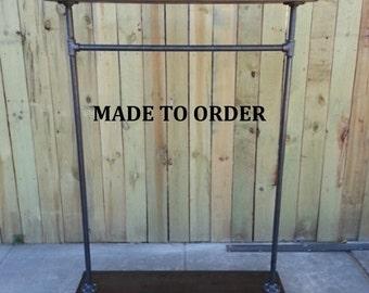 Store fixture, clothing rack, garment rack, reclaimed wood, coat rack, garment stand, rack