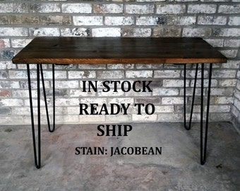 """Desk, 49""""Lx20""""Wx30""""H, Dorm desk, reclaimed wood, hairpin legs, in stock, ready to ship"""