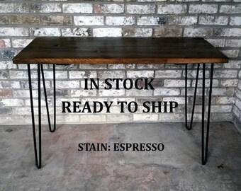Desk, hairpin legs, computer desk, hairpin legs desk, 49/20/30, reclaimed wood, wood desk, steel legs, in stock, ready to ship