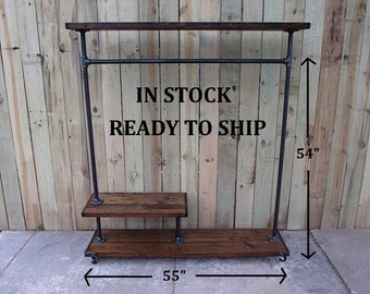 Clothing rack, reclaimed wood, garment rack, clothes rack, clothing storage, hanging rack, In stock, ready to ship, minimalist