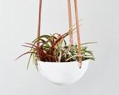 Small white hand spun Hanging Planter / Modern Planter / Plant Hanger / Minimalist Home Decor