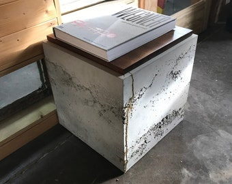 One-off Kintsugi SQR Concrete Side Tables / Nightstands / occasional tables with storage with shipping