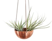 Sale! Small hanging planter/ hand spun copper or brass bowl/ Modern Planter / Plant Hanger / Air Plant Hanger/ Minimalist Home Decor