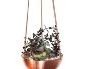 Large Hanging Planter with hand spun copper/ brass bowl / Modern Planter / Plant Hanger / Minimalist Home Decor/ Hanging planter