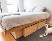 Raw Solid Antique Pine Platform Bed with storage -Queen, King, and Full Sizes Available/ custom made bed/ modern minimal bed frame
