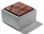 Nano Box with geometric sliced solid Dark American Walnut lid/Minimalist Home Decor/Jewelry Box