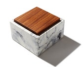Marbled Square Concrete Box with solid wood lid / Minimalist, Modern Home Decor, Jewelry Box, Container