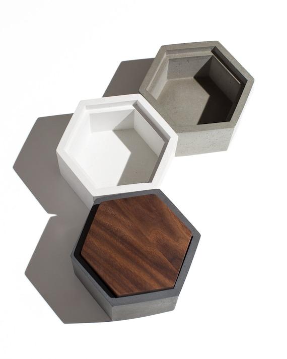 Hexagon Concrete Box With Walnut Lid / Minimalist Home | Etsy