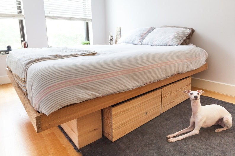 Raw Solid Antique Pine Platform Bed With Storage Queen King Etsy