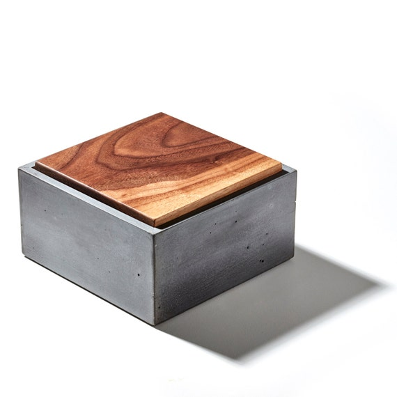 Sale 6 Concrete Box With Fallen Walnut Wood Lid / Large | Etsy