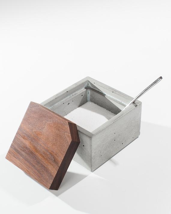 Square Concrete Salt Box With Dark American Walnut Wood Lid/ | Etsy