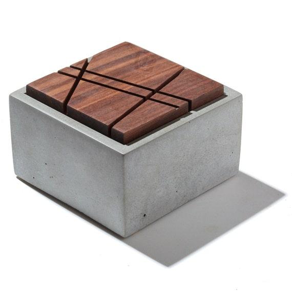 Small Grey Concrete Box With Geometric Sliced Solid Dark American