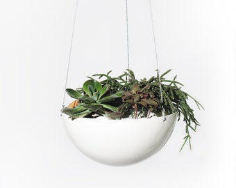 "Extra Large 10"" diameter White Aluminium Hanging Planter — Minimalist Home Decor"