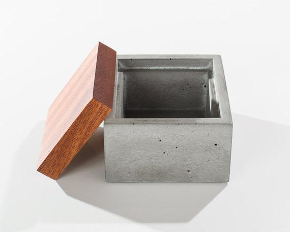 Small Grey Concrete Box With Solid Dark American Walnut Wood | Etsy