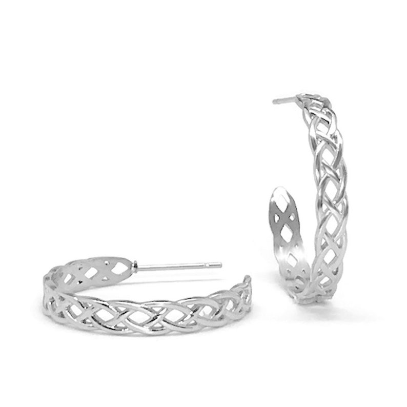 5845693e9ece2 Braided Hoop Earrings, Stainless Steel, Irish Jewelry for Women, Gift Ideas  For Sister, Bridesmaid Gift, Medium, Round