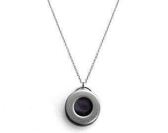 Black Round Pendant Necklace Stainless Steel, Silver Simple Circle Modern Jewelry, Rocker Chic