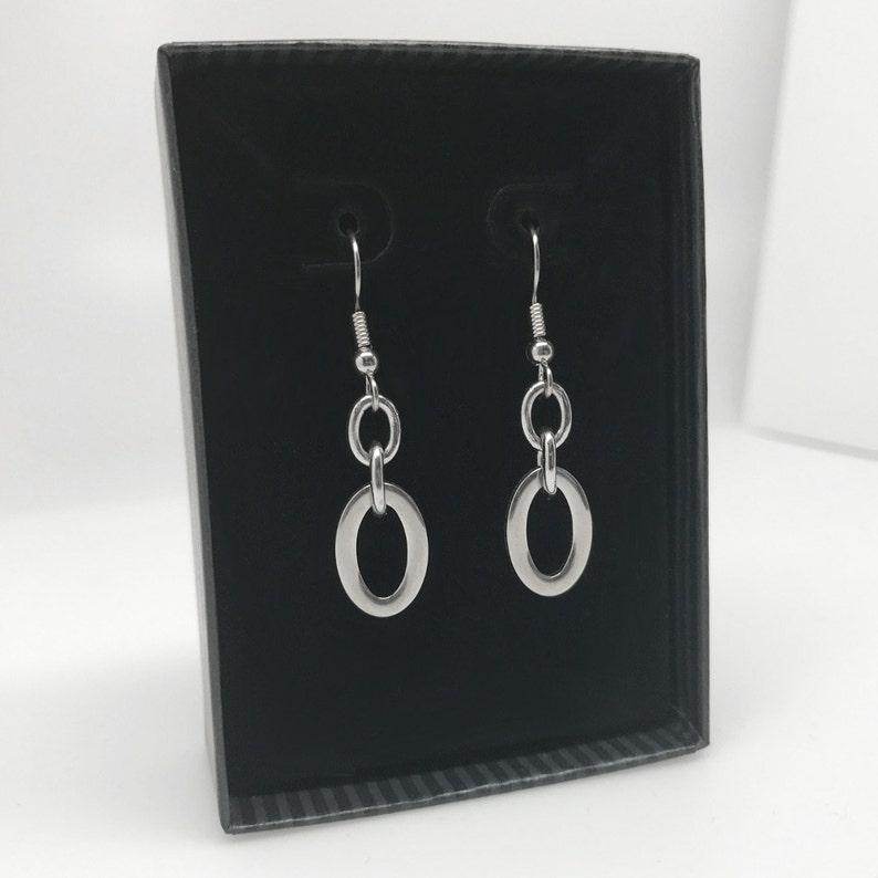 French Hook Earrings Oval Dangle Earrings Stainless Steel Jewelry Hypoallergenic Earrings Gifts for Mom