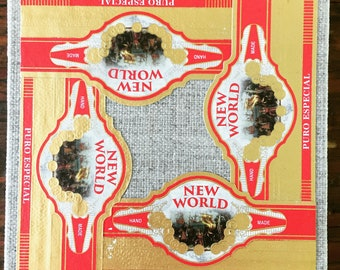 2018 Cigar Band Collage Coaster: New World Gold
