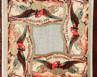 2017 Cigar Band Collage Coaster: San Cristobal Parrot on Linen