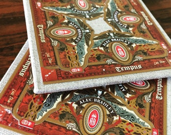 2018 Cigar Band Collage Coaster Set of 2 - Alec Bradley Tempus