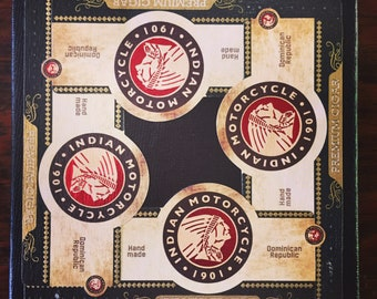 2018 Cigar Band Collage Coaster: Indian Motorcycle on Black Canvas