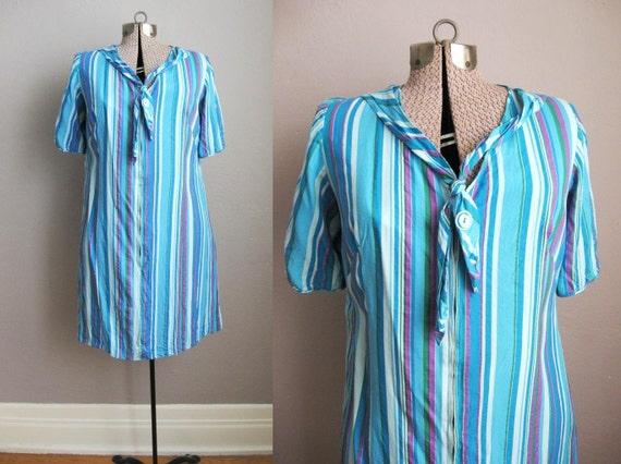 1787a5dcf década de 1960 vintage vestido rayas de algodón 60s casa