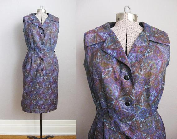 1950s Vintage Dress Purple Print 50s Day Dress Rho