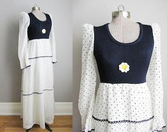1960s Vintage Dress Daisy Polka Dot 60s Maxi Dress Long Sleeve Navy Blue White / Small