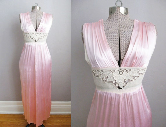 1930s Nightgown Pink Satin Lace 30s Vintage Linger