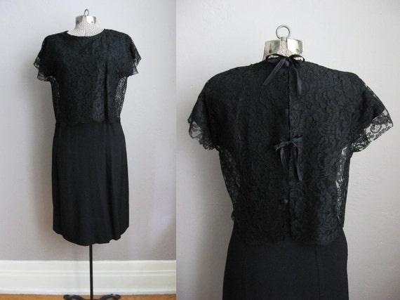 Vintage 1950s Dress Black Lace 50s Cocktail Dress