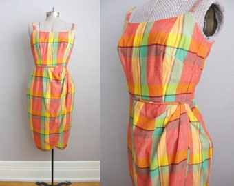 1950s Vintage Dress Plaid Sarong 50s Wiggle Dress / Small XS