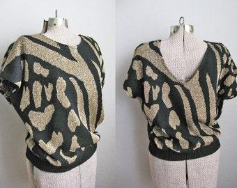 Black Gold Sweater Vintage 80s Cheetah Print Short Sleeve Sweater / Medium Large